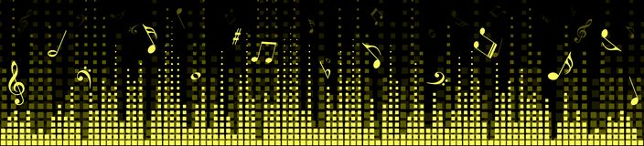 Background with sound scale. Background with an equalizer and music notes Royalty Free Stock Photography