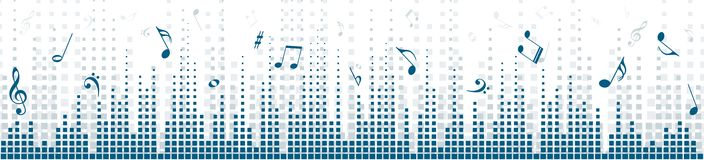Background with sound scale. Background with an equalizer and music notes Royalty Free Stock Photos