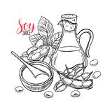 Background of soybeans and soy sauce Royalty Free Stock Photos