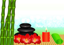 Background for spa with bamboo and candle Stock Images