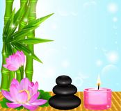 Background Spa flower Palma stones and candle Royalty Free Stock Image