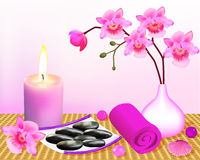 Background for spa with orchid and candle Royalty Free Stock Photography