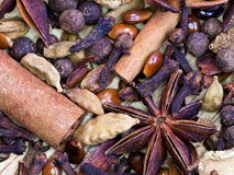 Background from spices for gluhwein Royalty Free Stock Image