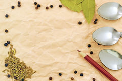 Background of spices on paper Royalty Free Stock Photography