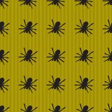 Background with spider pattern. Green background design with stripes and spiders. Halloween theme clean design Stock Photography