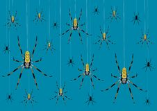 Background with spiders. Variously sized spiders hanging from webs stock illustration
