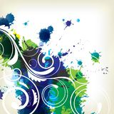 Background with splash and floral elements Stock Photo