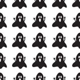 Background with spooky ghosts. Black and white background design with ghost pattern. Halloween theme clean design Stock Photo