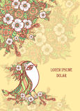 Background with spring doodle bird and flowers in beige Stock Image