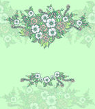 Background with spring doodle flowers in blue green Stock Photography