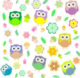 Background spring elements owls, flowers Royalty Free Stock Photography