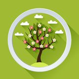Background with spring tree in flat design style Stock Photos
