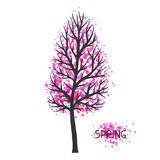Background with spring tree. Illustration of silhouette and abstract spots Stock Photos