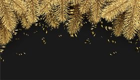 Background with spruce branches and serpentine. Black holiday background with spruce branches and golden serpentine. Vector illustration Royalty Free Stock Photos