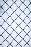 Background of square blue metal grill netting covered with fluff. Y white crystals of frost Stock Images