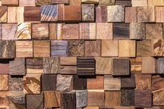 Background of square pieces of wood set Stock Photos