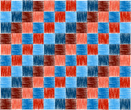 Background squares blue red embroidery Stock Photo
