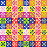 Background with squares and flowers different colors. Seamless multicolored pattern. Vector illustrations Stock Photos