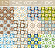 Background squares 12. Set of twelve non-ferrous abstract backgrounds. For printing, and textiles Stock Photos