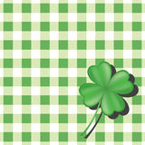 Background for st.Patrick's Day. Clover on green checkered background Stock Image