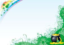Background for St. Patricks Day. Horseshoe, pan with gold coins and rainbow on abstract background Stock Illustration