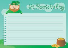 Background for St. Patricks Day. Vector of page from spiral notebook, leprechaun, pot with gold coins on green spring landscape vector illustration