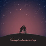 Background for St. Valentine's Day with lovers and nigth sky Stock Photo