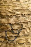 Plain bamboo stack basket weave texture. Background of stack of big bamboo basket weave texture with handle side Royalty Free Stock Photos