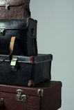 Background stack of old shabby suitcase Royalty Free Stock Image