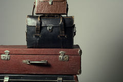 Background stack of old suitcases form a tower Royalty Free Stock Image
