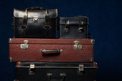 Background stack of old suitcases Stock Image