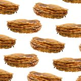 Background with Stack of thin pancakes Royalty Free Stock Images