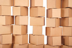 Background stacked cardboard boxes Royalty Free Stock Images