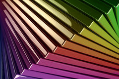 Background of Stacked Metallic Reflective Rainbow Colored Square Stock Photo