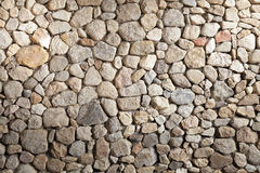 Background -  Stacked Stone Wall with Shade. Stock Photos