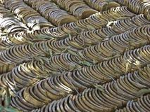 Background with stacks of tiles arranged symmetrically Stock Photos