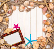Background with star fish and marine rope Royalty Free Stock Photography