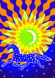 Background with star horse. Star stylized horse is running against the sky, the moon and the sun Royalty Free Stock Photography