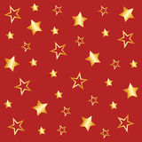 Background with star pattern in red. Background with star pattern, gold stars, golden stars, Seamless star background, star background, gold glittering, paper Stock Illustration