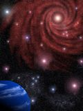 Background the star sky. The abstract image of the star sky with a galaxy and a planet Stock Illustration