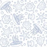 Background with starfish, seashells and jellyfish. Seamless pattern. Stock Images