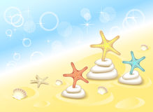Background with Starfishes dancing on the stones Stock Photo