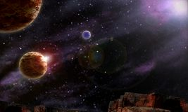 Background Starry night sky planets. Colorful stock illustration