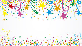 Background stars at day. Background of a party with many confetti, streamers and stars at day Royalty Free Stock Photos