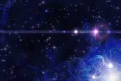 Background with stars and fractals Royalty Free Stock Photography