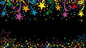 Background stars at night. Background of a party with many confetti, streamers and stars at night Royalty Free Stock Photography
