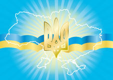 Background with the state symbol of Ukraine Royalty Free Stock Images
