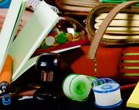 Background of Stationery Items Stock Photo