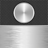 Background. Steel and black background with round banner Stock Photos