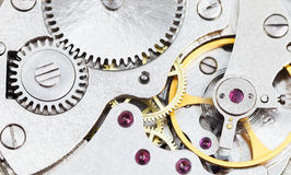 Background from steel clockwork of retro watch Royalty Free Stock Photo